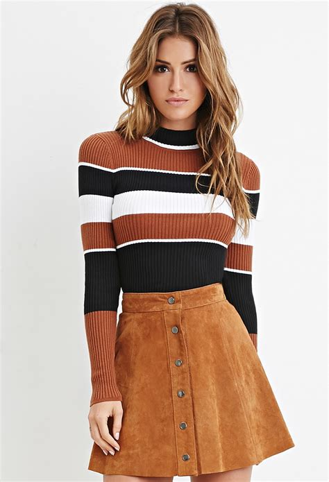 Neck Striped Sweater lyst forever 21 mock neck striped sweater in black