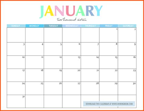 editable printable january calendar editable template