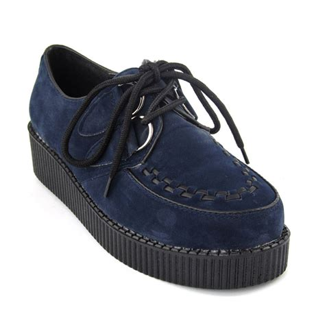 Flats Bg 6 Navy Flats Shoes Supertu new platform lace up womens flat creepers shoes size 3 8 ebay