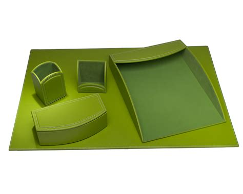 Green Desk Accessories Sets by D6069 Dacasso Colors Faux Leather 5pc Office Organizing