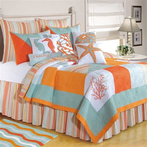 beach themed comforter sets queen beach theme bedding sets love this blue orange and