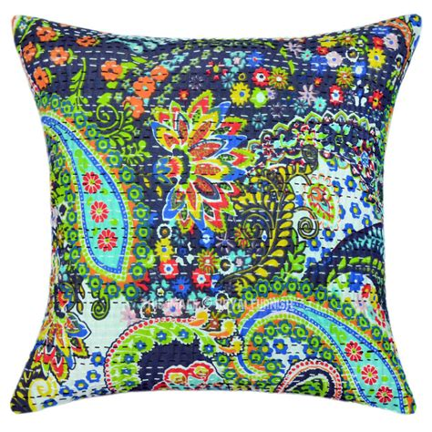 16 Inch Throw Pillows by 16 Quot Inch Decorative Grey Paisley Kantha Cotton Throw