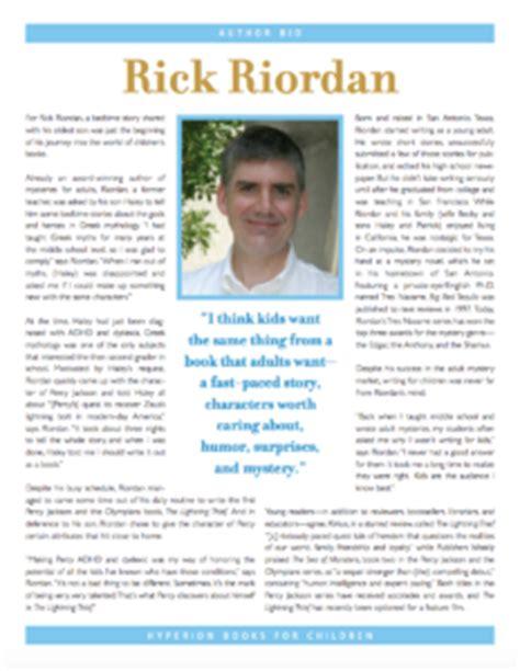 biography of rick riordan press kit materials rick riordan