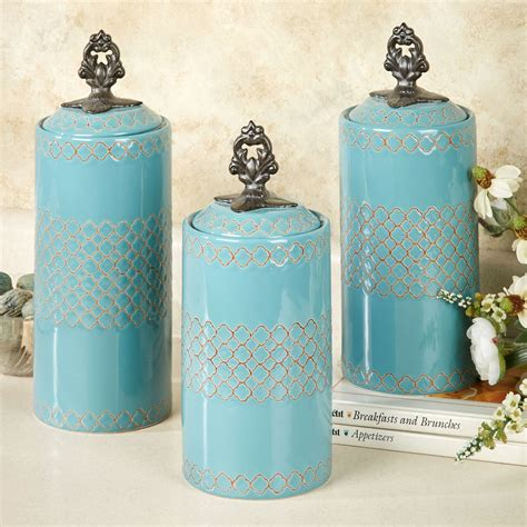 canister kitchen set safiya turquoise kitchen canister set