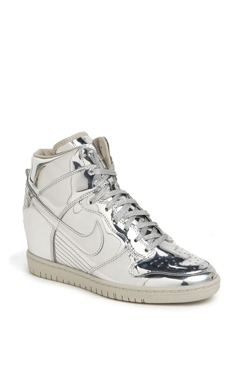 wedge nike sneakers nike dunk sky hi wedge sneaker in silver metallic