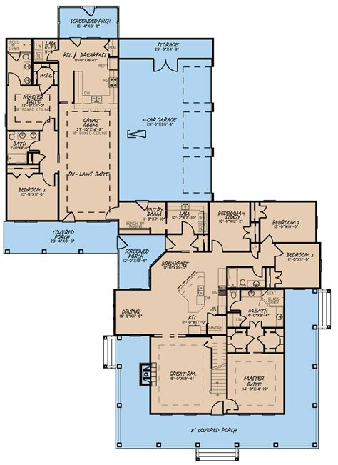 in suite house plans favorite one story and 2 br in suite 5020