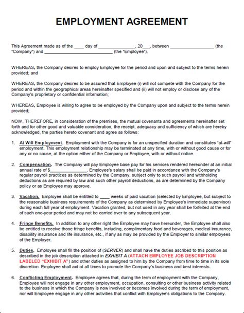 contract for employment template employment agreement template