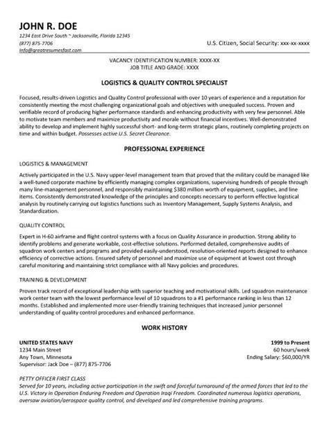 Logistics and Quality Control Specialist Resume