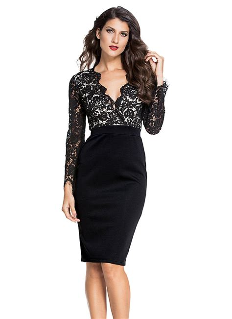 Lace Sleeve Dress black l black lace illusion sleeves dress chicuu