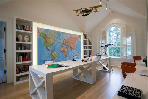 kids study room idea love the bookshelves and the big map in this room