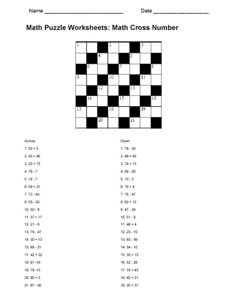 math puzzle worksheet sample