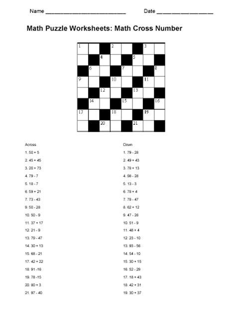 math puzzle worksheet sample