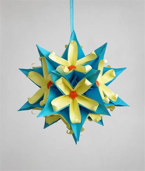 Papercraft Decorations - sale origami paper kusudama dinara by waveoflight on