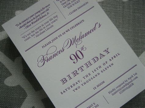 90th birthday invites templates navy bean letterpress 90th birthday invitations