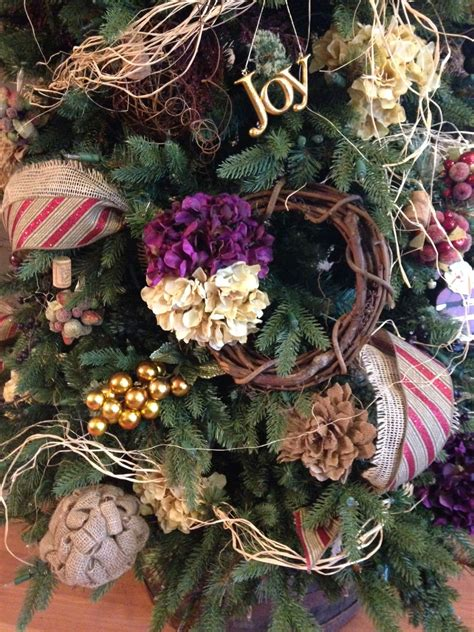 wine theme christmas tree wine tuscan vineyard theme whiskey barrel grape vine wreath hydrangeas