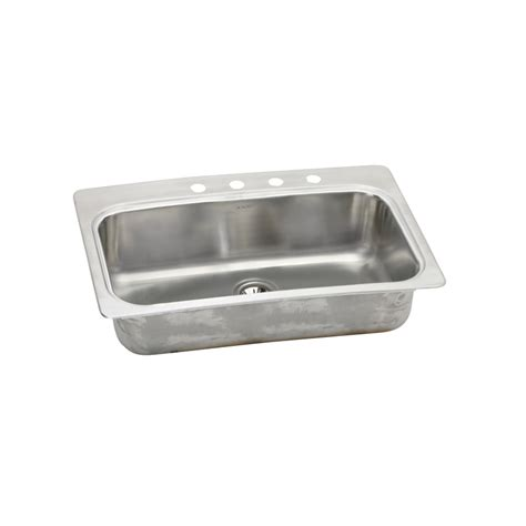 shop elkay 22 in x 33 in stainless single basin drop in or undermount kitchen sink at lowes