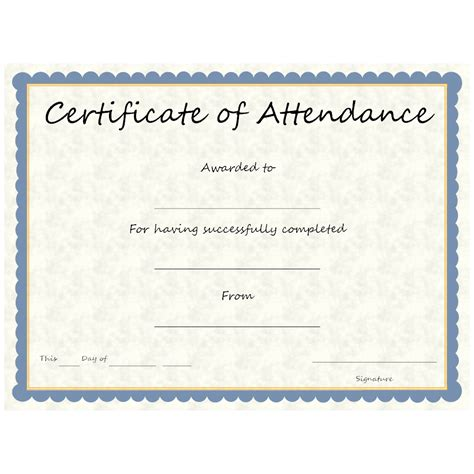templates for certificates of attendance certificate of attendance