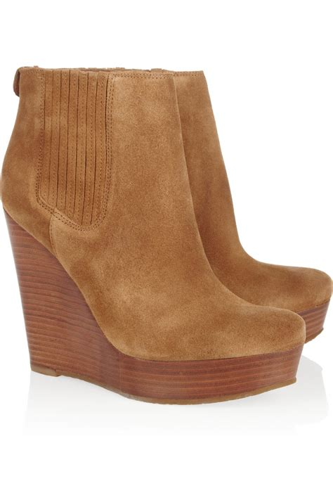 michael michael kors emory suede and wooden wedge ankle
