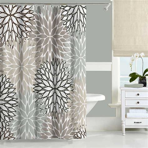 gray and white shower curtains floral shower curtain neutral gray beige white dahlia shower