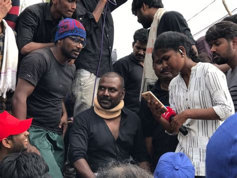 actor raghava lawrence native place raghava lawrence participates in jallikattu protest at