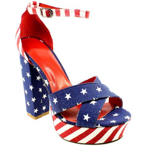 womens block heel american flag ankle high platform