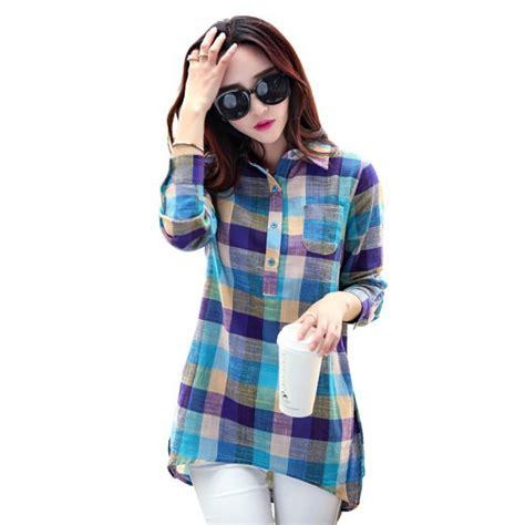 Fashion Collar 1 fashion plaid shirt fashion collar sleeve cotton linen blouses topslisa s store in