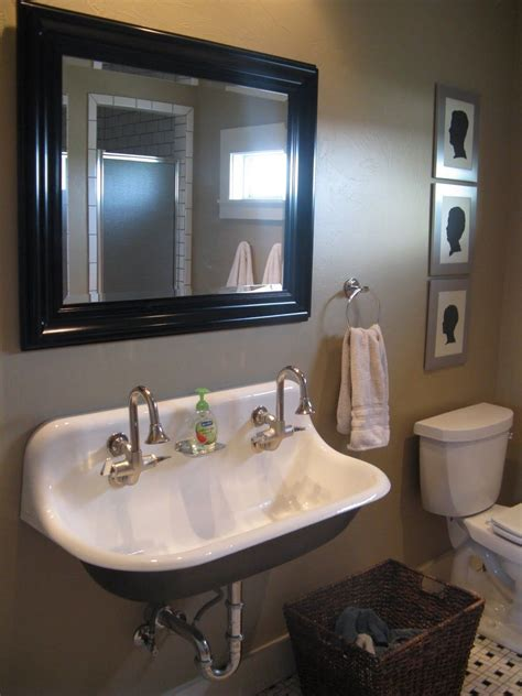trough style bathroom two faucet trough bathroom