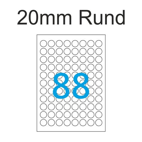 Etiketten Drucken Corel Draw by 20mm Etiketten Rund May Spies Premium Color Laser 88
