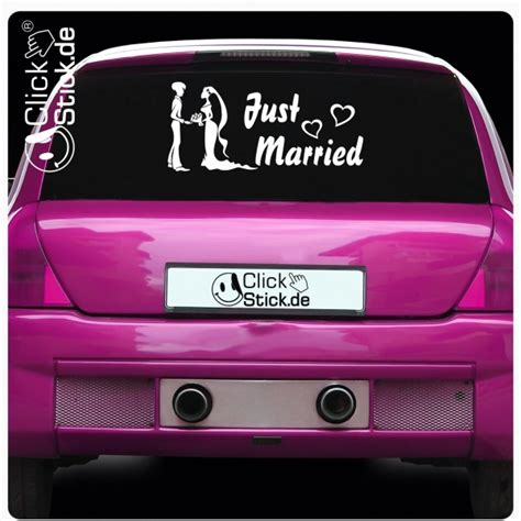 Auto Sticker Just Married by Ah001 Auto Aufkleber Just Married Heckscheiben Sticker