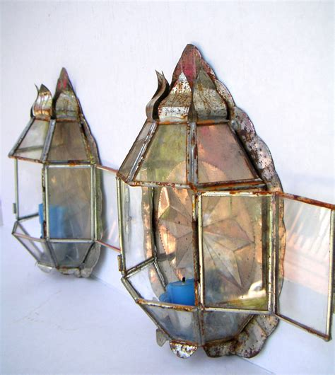 Tin Wall Sconce Vintage Handmade Metal Tin Wall Sconce Soldered Glass Panels