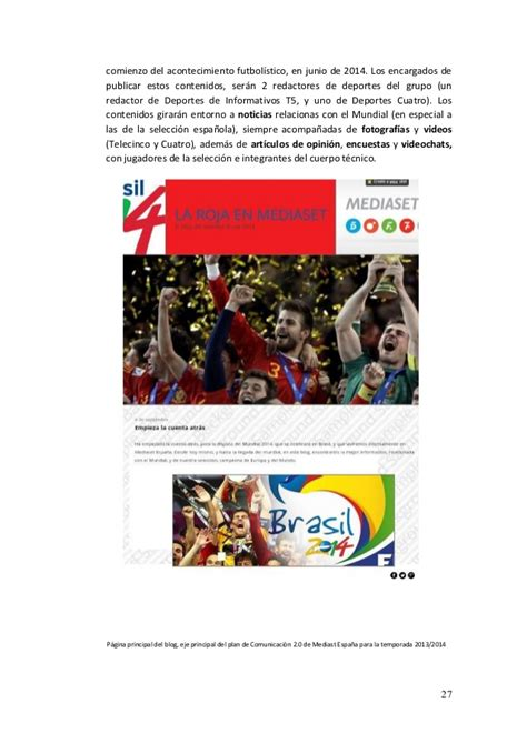layout online español plan de comunicaci 243 n online mediaset espa 241 a 2013 14