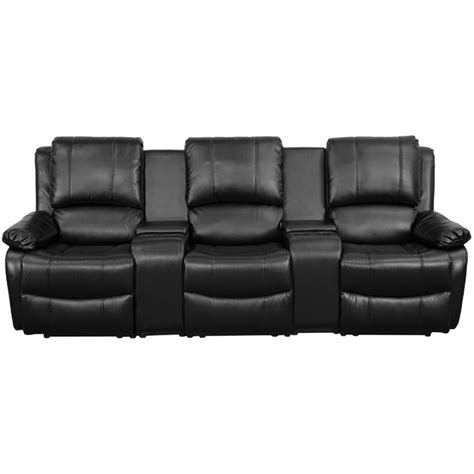 reclining theatre chairs 3 seat leather reclining home theater seating in black