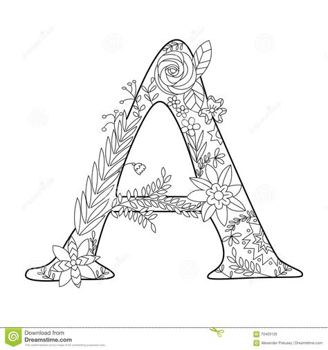lettere a letter a coloring book for adults vector stock vector