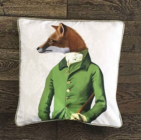 fox decor for the home fox in green decorative cushion by fabfunky home decor