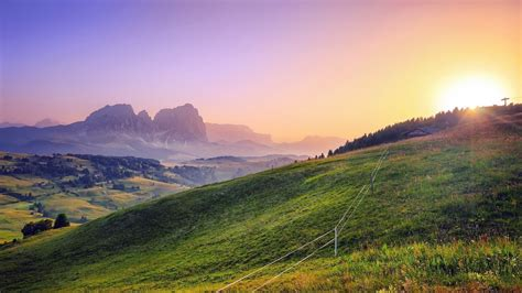 nice landscape nice view sunlight mountain grass fairytale landscape hd