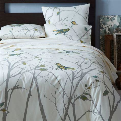 organic sparrow song duvet cover shams west elm