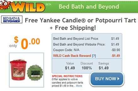 bed bath and beyond free shipping free yankee candle or tart with free shipping