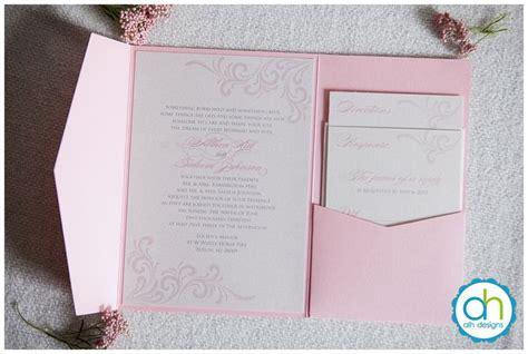 pink white and silver wedding invitations pink and silver metallic pocketfold wedding invitation suite alhdesigns weddinginvitations