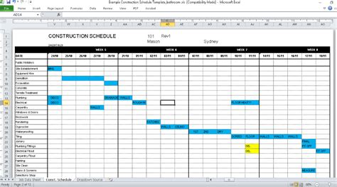 construction schedule template excel free construction schedule template production plan template
