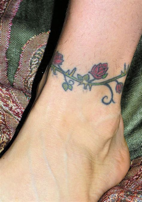 rose tattoo around ankle vine tattoos designs pictures