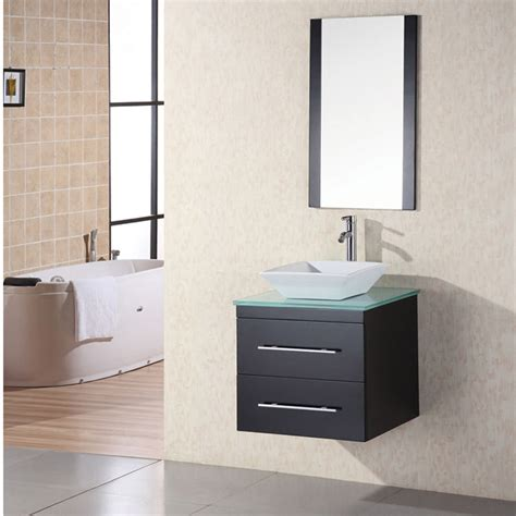 24 quot single sink glass vanity set zuri furniture