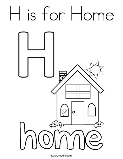 H R Block Coloring Pages by H Is For Home Coloring Page Twisty Noodle