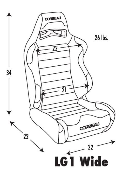 corbeau sport seat dimensions corbeau lg1 racing seat wide version black grey cloth