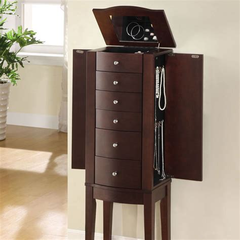 tall standing jewelry armoire jewelry armoire stand wood mirror storage tall chest