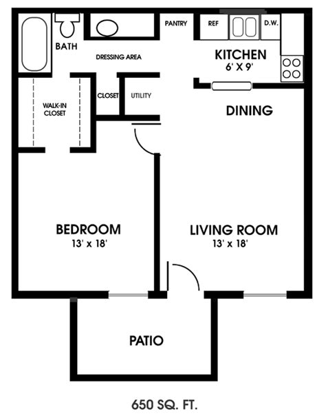 One Bedroom Apartment Designs Exle Clearview Apartments Mobile Alabama One Bedroom Floor Plan