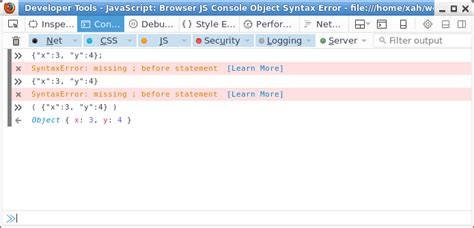 console js js browser js console object syntax error