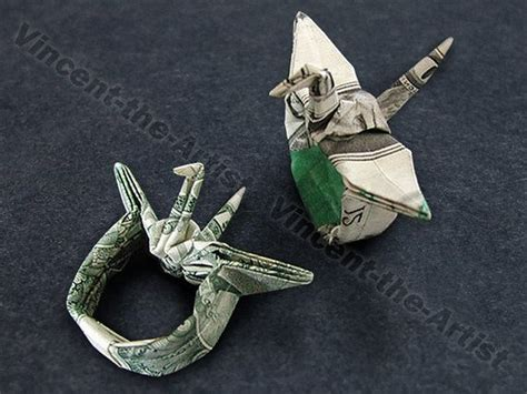 Money Origami Crane - dollar origami crane ring with adjustable band this is