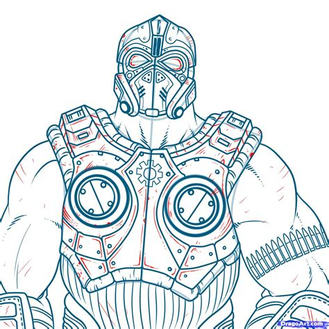 how to draw clayton carmine gears of war 3 step by step