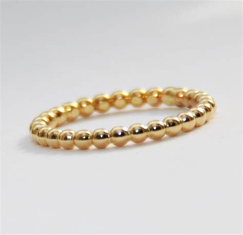 bead ring 2mm bold yellow gold filled beaded ring anniversary ring