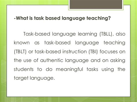 task based task based instruction